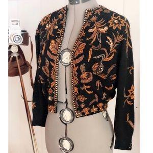Bonnie Wong | 1960s Beaded Cardigan sweater Wool